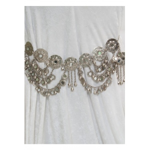 Mid-East Nickel Plated Brass Dance Belt w/ Mirrors & Bells 32""