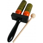 DOBANI Wooden Double Bell Agogo w/ Mallet - Green & Orange