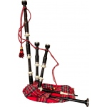 Roosebeck Full Size Ebony Bagpipe w/ Red Tartan Cover