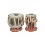 "Sajid Pro Tabla Set Nickel Plated Brass Bayan and 5.25"" Dayan"
