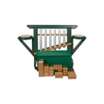 "Playmore Design ""THRONE of GAMES"" (Chime Unit, Side Drums, Storage Bench) with 50 Block On Casters - Green/Cedar"
