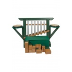 "Playmore Design ""THRONE of GAMES"" (Chime Unit, Side Drums, Storage Bench) with 50 Blocks Free Standing - Green/Cedar"